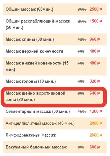 стоимость массаж шейно воротниковой зоны цена